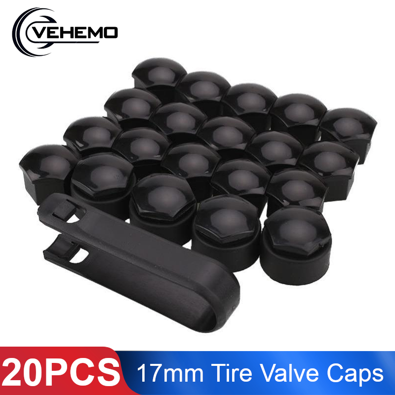 Car Styling 20Pcs 17mm Car Truck <font><b>Bike</b></font> Tire Valve <font><b>Stem</b></font> Caps Wheel <font><b>Nuts</b></font> Covers Anti Theft Bolt Caps Hub Screw Protector For Audi image