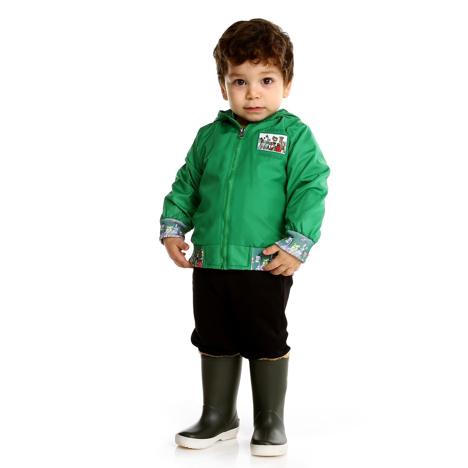 Ebebek Midimod Summer Baby Boy Happy Animals Micro Rib Rain Coat