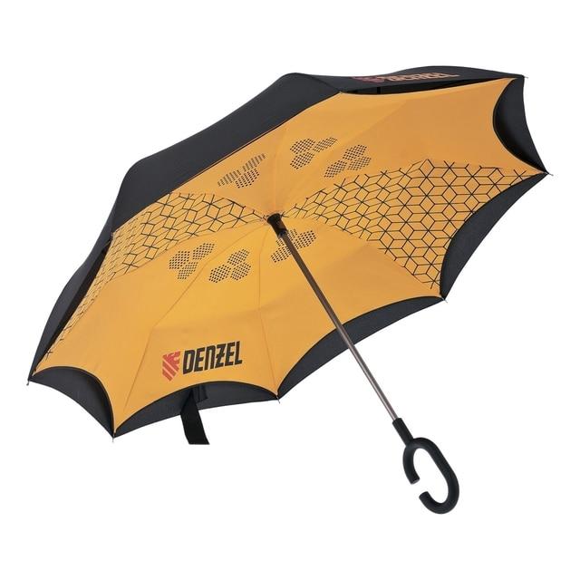 Зонт-трость обратного сложения DENZEL 69706 (складывается мокрой стороной внутрь, удобная ручка, диаметр купола 108см)