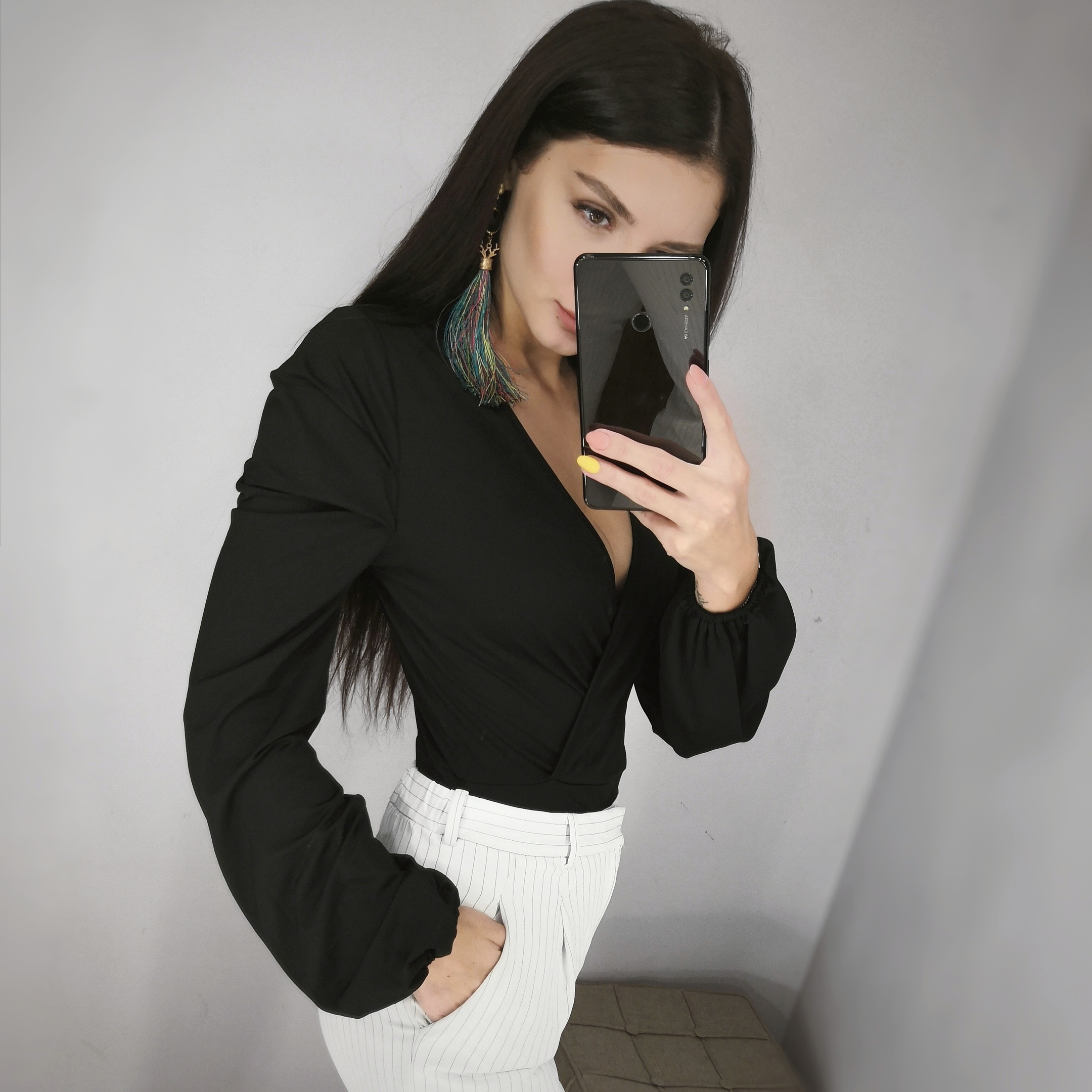 Black Surplice Neck Slim Fitted Bodysuit Women Bishop Sleeve Skinny Bodysuit Summer Streetwear Sexy Bodysuits photo review