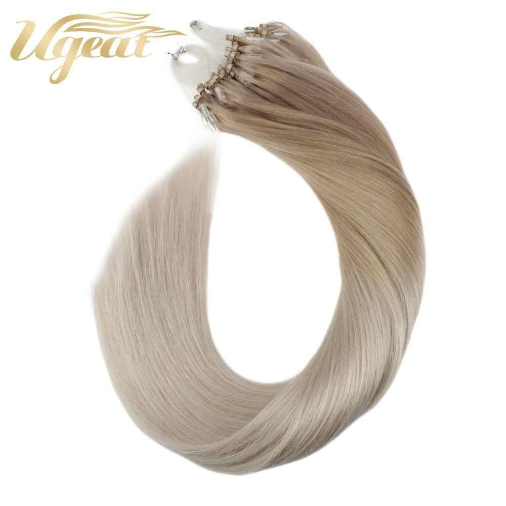 Micro Ring Human Hair Extensions Machine Remy Hair 14-24'' Natural Straight Micro Loop Hair Extensions 50g/100g