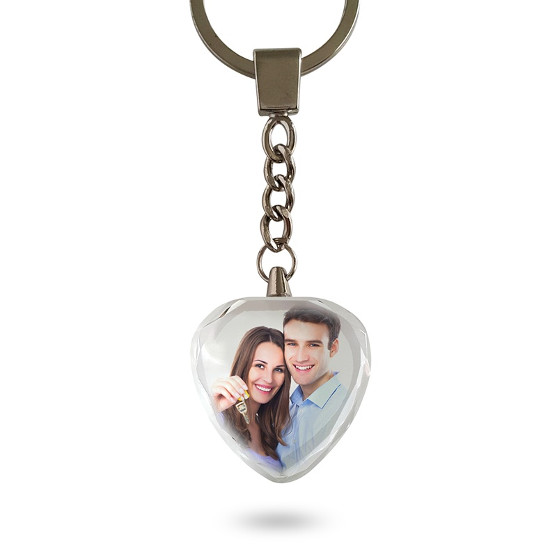 Personalized Heart Crystal Keychain