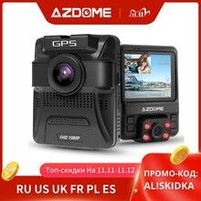 Azdomgs65h جهاز تسجيل فيديو رقمي للسيارات عدسة مزدوجة صغيرة اندفاعة كام الجبهة كامل HD 1080P/الخلفية 720P سيارة كاميرا للرؤية الليلية لتحديد المواقع ل Uber Lyft تاكسي