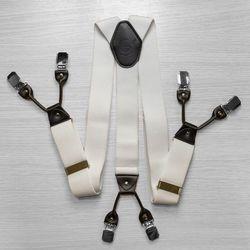 Подтяжки для брюк широкие (4 см, 6 клипс, Белый) 53959