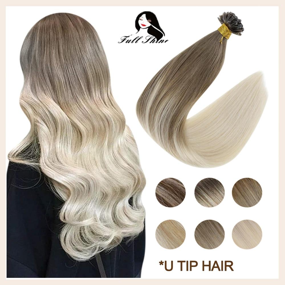 Полный блеск с u-образными клипсами для фиксации наращивание волос фьюжн волосы Реми волос наращивание волос Реми Цвет кератин клей бусины ...