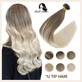 Full Shine U Tip Hair Extensions Fusion Hair Balayage Color Keratin Glue Beads Prebonded Human Hair Extensiones50g Machine Remy