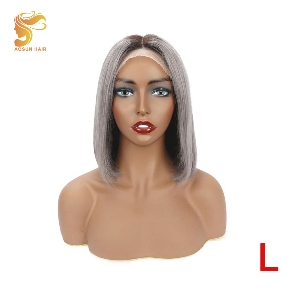 AOSUN HAIR 1b Grey 150% Density 13x4 Short Bob Straight Lace Front Wig Pre Plucked Brazilian Lace Front Human Hair Wigs Remy