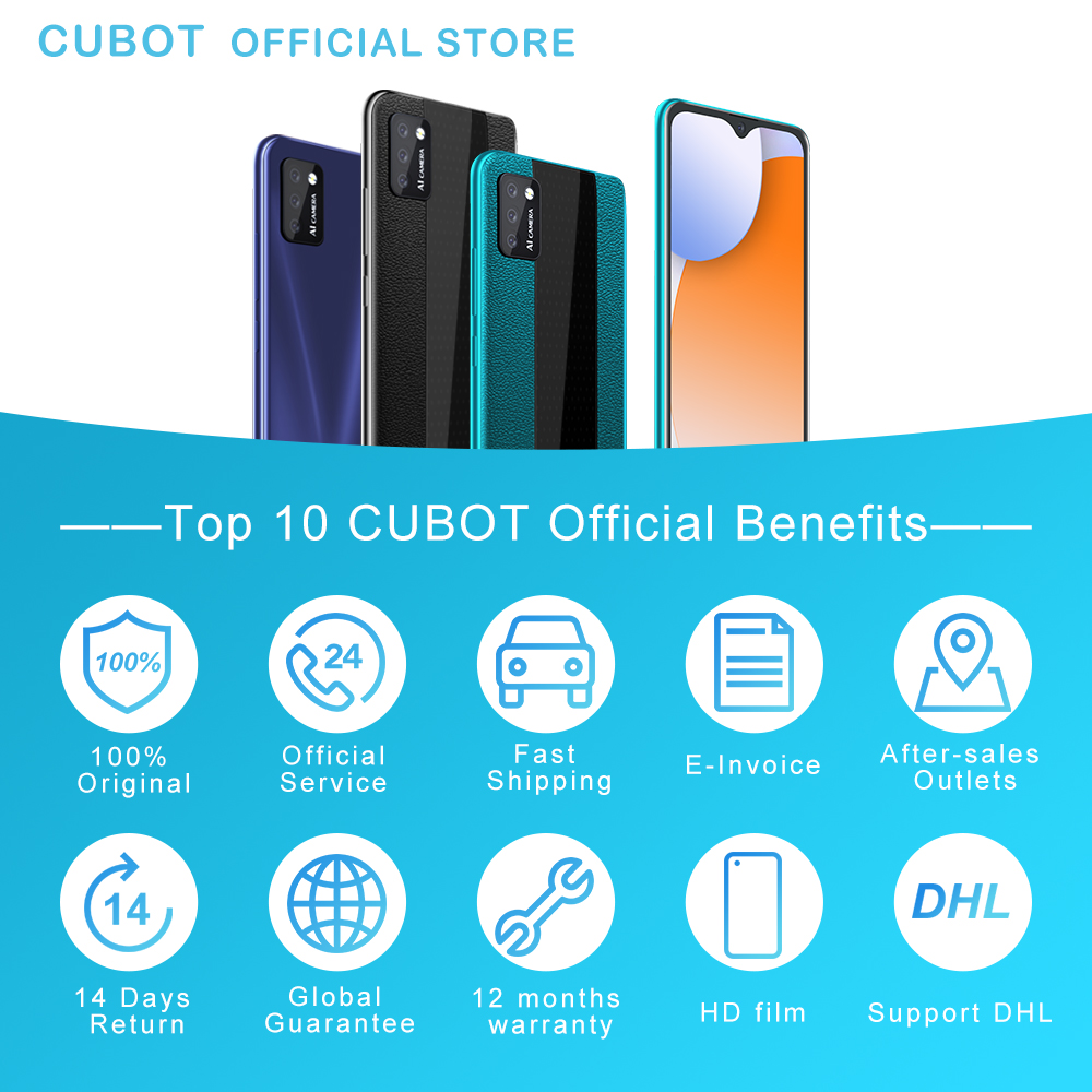 Cubot Note 7 Smartphone Triple Camera 13MP 4G LTE 5.5 Inch Screen 3100mAh Android 10 Dual SIM Card mobile phone Face Unlock 6