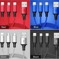 """Cable USB 3 in1 iPhone (5/5/6/7/8/X)/microUSB/tipo-C material """"Delgado"""""""
