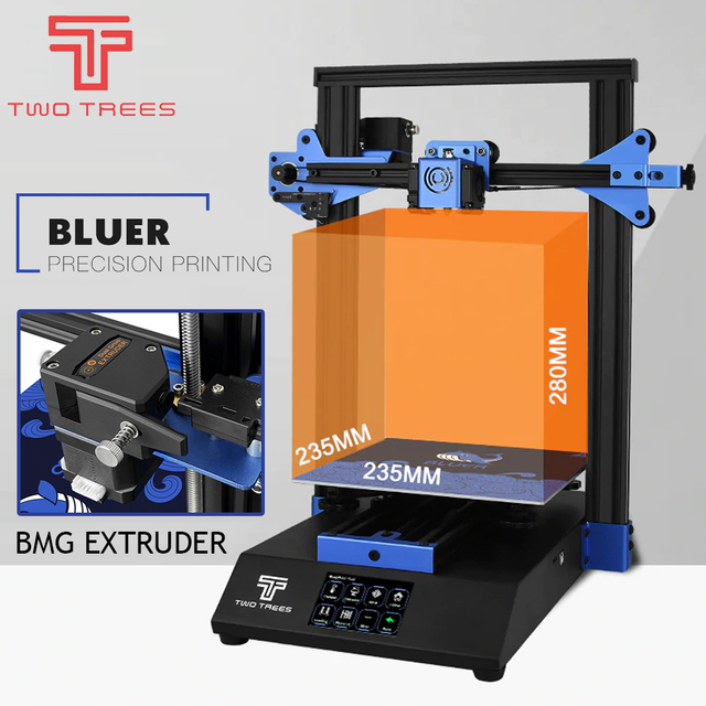 3D Printer Bluer Full Metal Frame High Precision Diy Kit Glass Platform Support Auto Leveling Resume Print Filament RunOut Dete