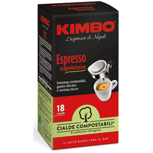 Kimbo ESE Compostable Coffee Pods - Espresso Napoletano (12 x 18 Pods)