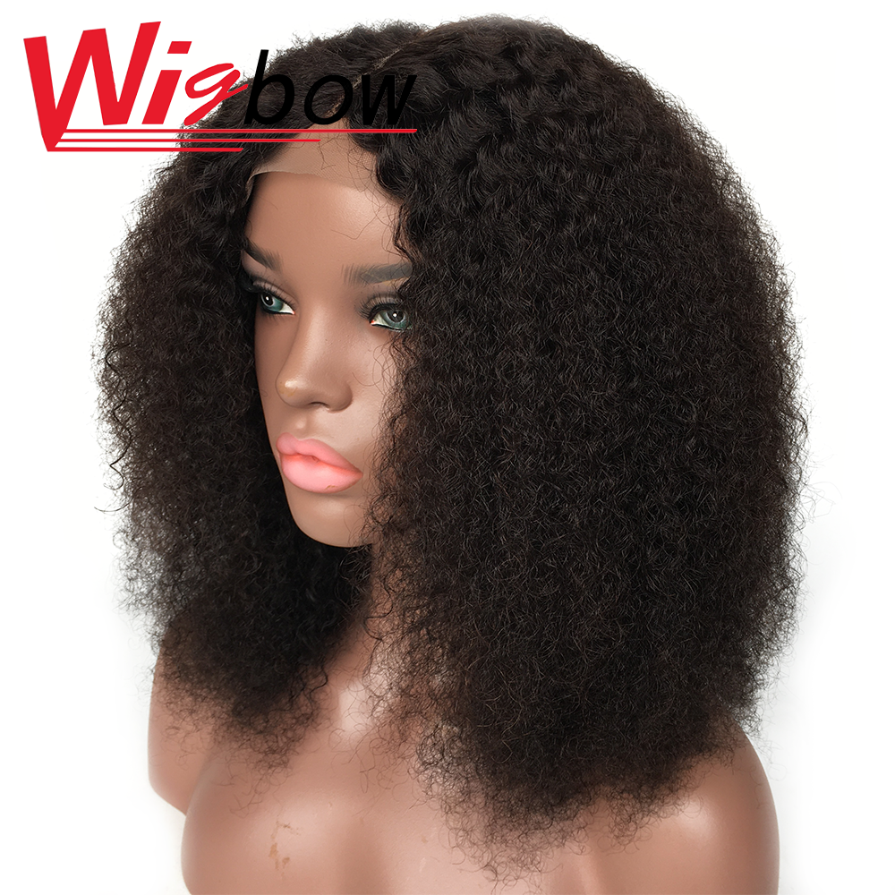 Afro Kinky Curly Middle Part Wig Lace Closure Human Hair Wigs Full Natural Color 4*4 Lace Wig 180% Peruvian Remy Curly Hair Wig