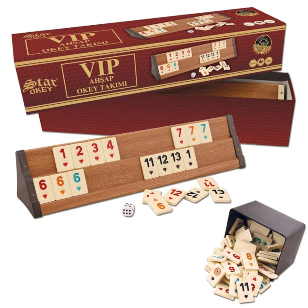 V.I.P Okey Rummy Board Game WOODEN 4x Decks And Quality 106x Chips Set V.I.P