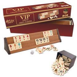 VIP Okey Rummy Bordspel HOUTEN 4x Decks en Kwaliteit 106x Chips Set VIP