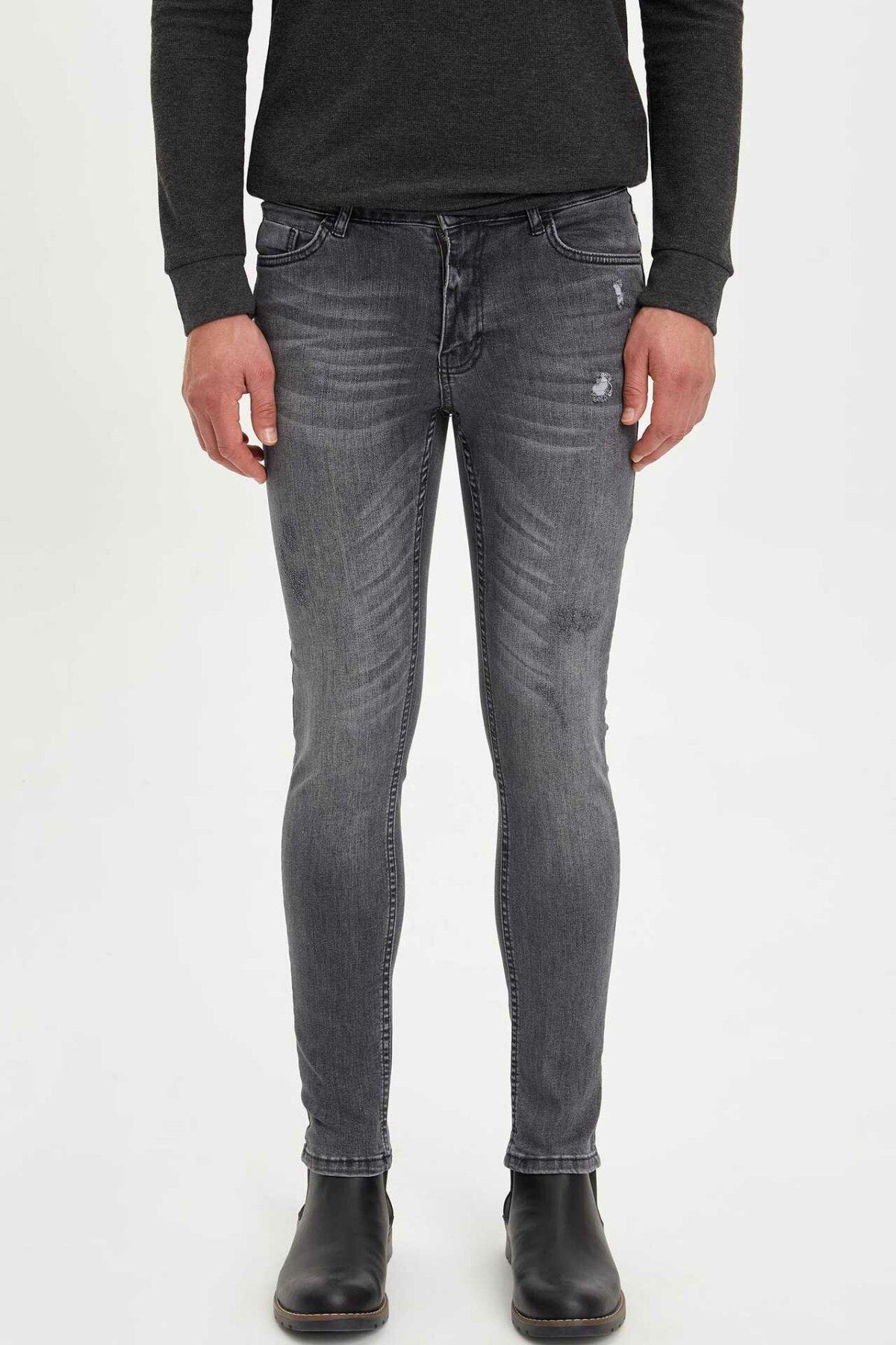 DeFacto Man Light Grey Mid-waist Denim Jeans Men Casual Slim Pencil Denim Jeans Male Washed Soft Denim Trousers-L1836AZ19AU