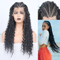 RONGDUOYI Black Hair Braided Box Braids Wig Long Heat Fiber Hair Synthetic Lace Front Wigs for Women Deep Part Lace Wig