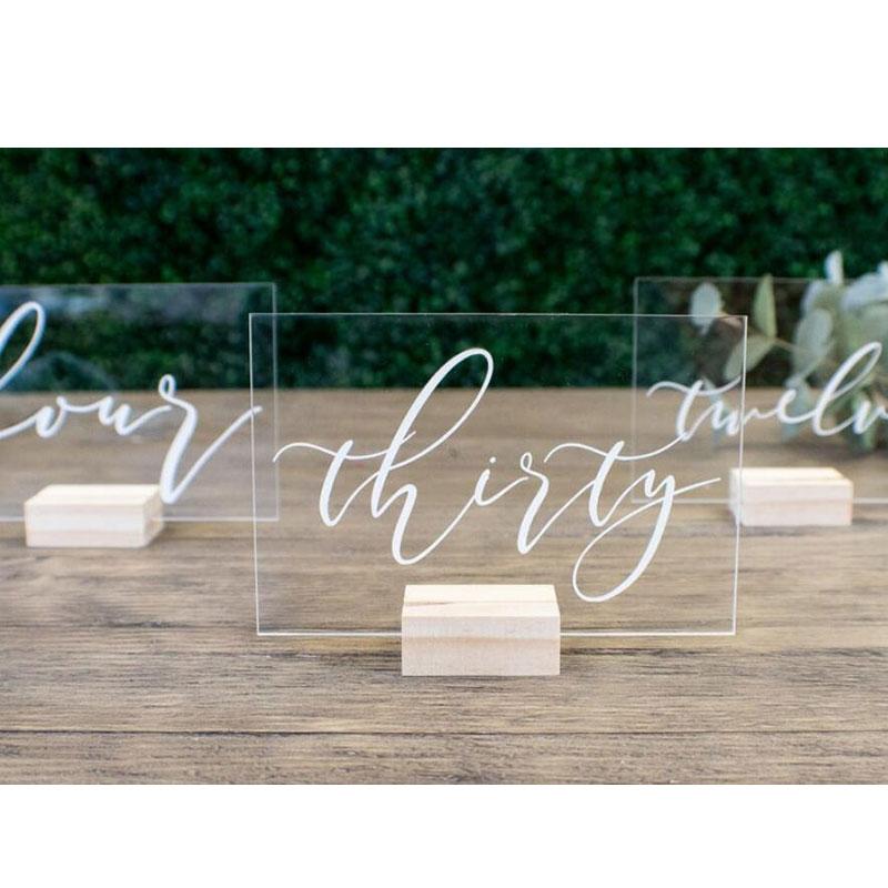 Custom Wedding Table Numbers Sign Clear Acrylic Sign Unplugged Acrylic Sign Wedding Decor Clear Acrylic Wedding Signage 5x5.5