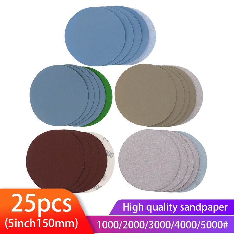 25PCS 5 Inch Dry & Wet Sandpaper Round Sanding Discs Grit 1000/2000/3000/4000/5000 Hook Loop Polishing Sand Sheets
