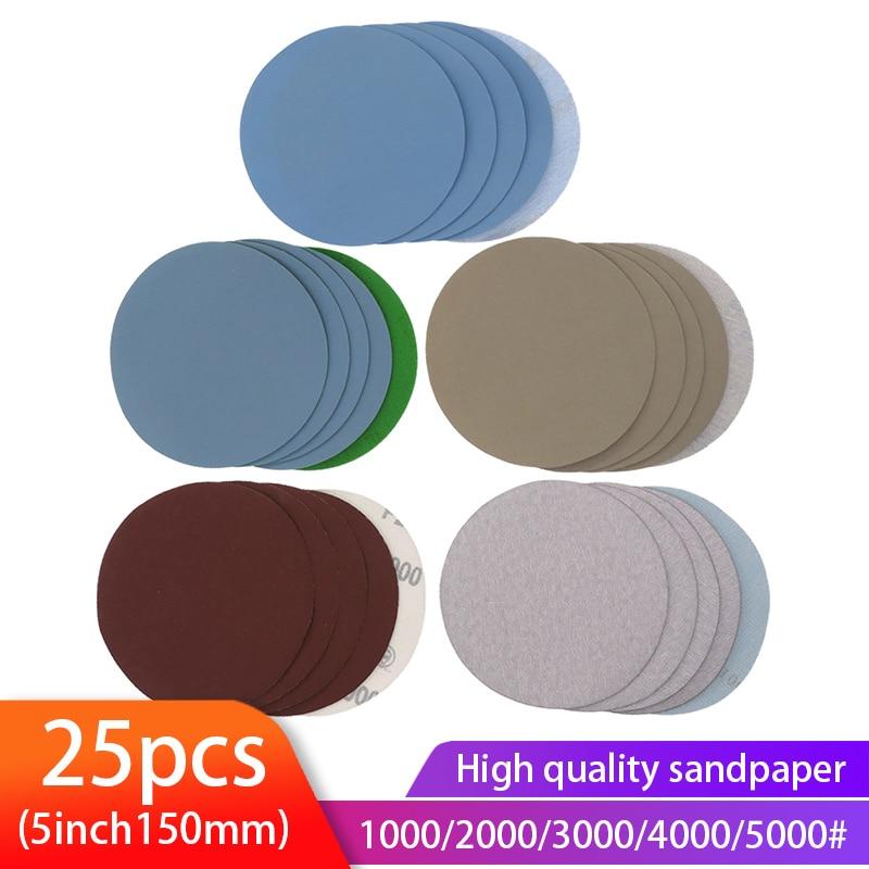 25PCS 5 Inch Dry & Wet Sandpaper Round Sanding Discs Grit 1000/2000/3000/4000/5000 Hook Loop Polishing Sand Sheets