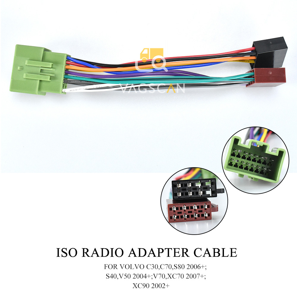 12 032 iso standard wiring harness car radio adapter for volvo xc70  2007+/xc90 2002+/s80 2006+/v50 2004+ cables, adapters & sockets  -  aliexpress  aliexpress