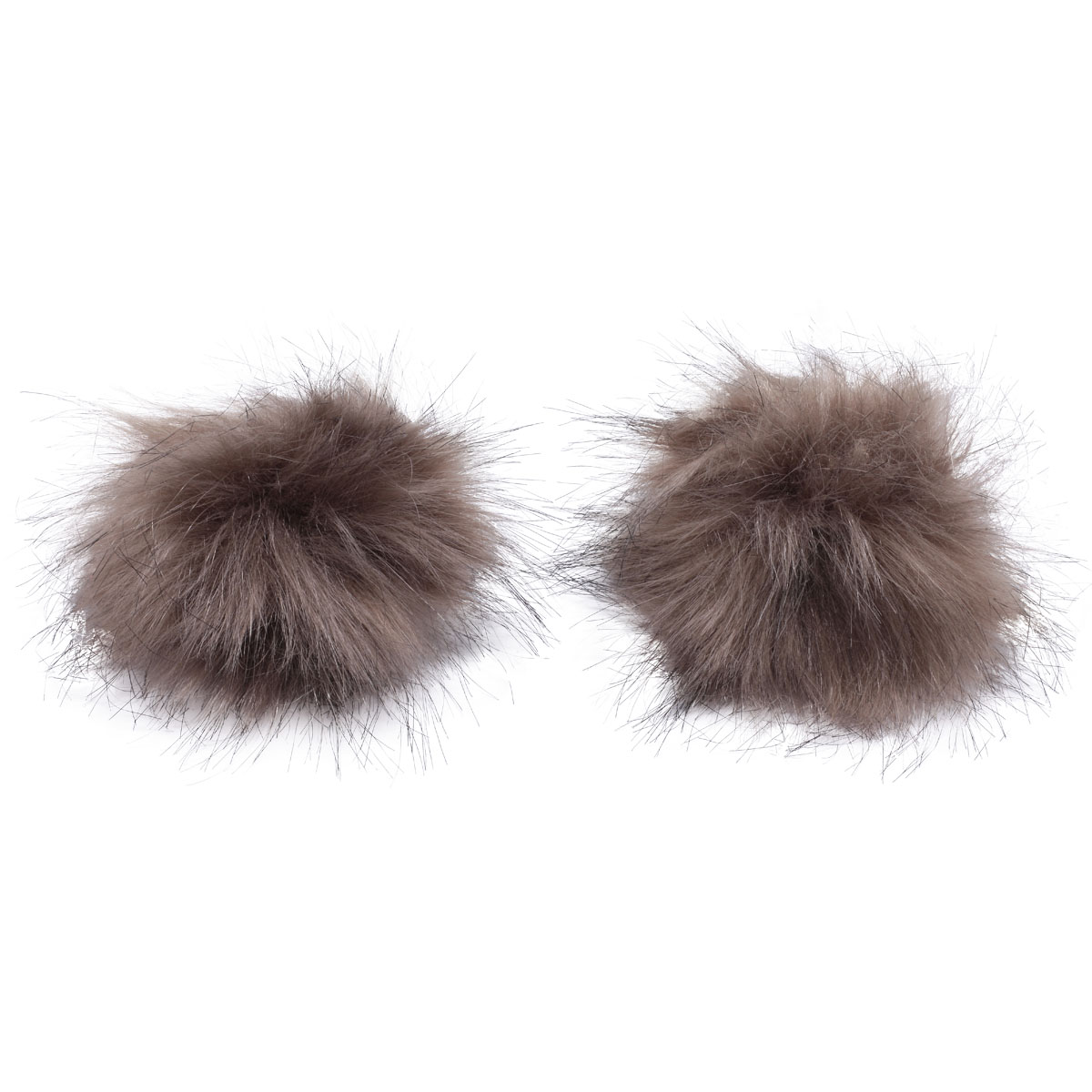 Pompoms Made Of Artificial Fur (Fox), D-8cm, 2 Pcs/pack (Brown)