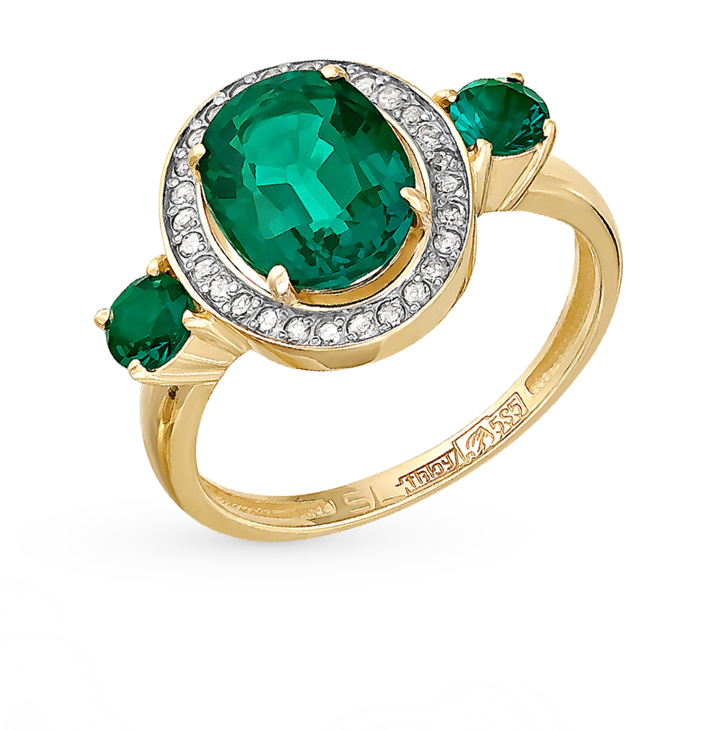 Gold Ring With Emeralds And Diamonds SUNLIGHT Test 585