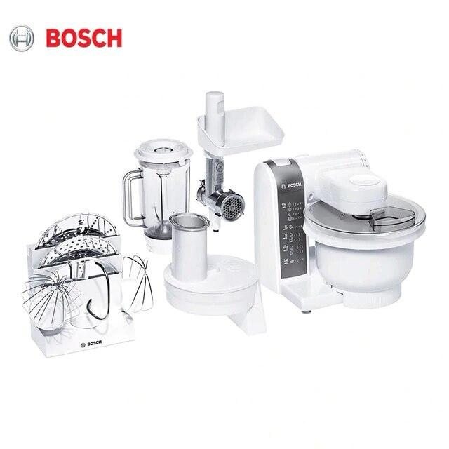 อาหาร Bosch MUM4855 เนื้อเครื่องบดคั้นน้ำผลไม้ผักเครื่องตัด MUM 4855 เครื่องผสมดาวเคราะห์ชามขาตั้งแป้ง