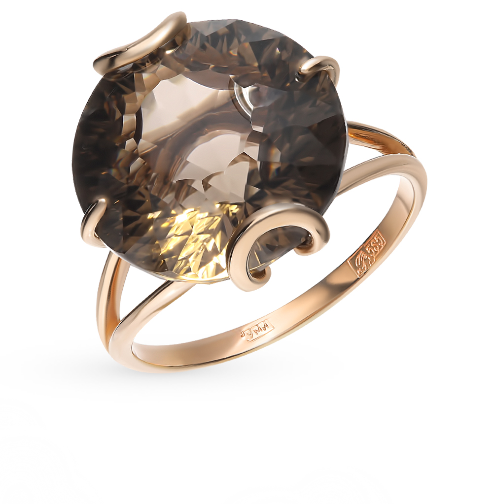 Gold Ring With Rauchtopazami SUNLIGHT Test 585