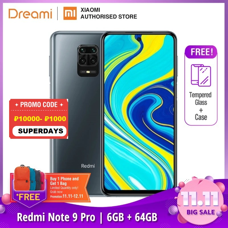 Global Version Xiaomi Redmi Note 9 Pro 6GB RAM 64GB ROM (Brand New / Sealed) redminote9pro, note9pro, Smartphone mobile