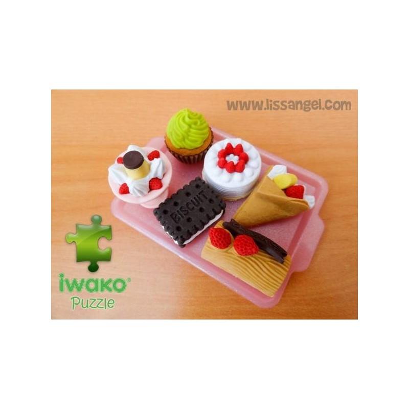 6 Pack IWAKO Puzzle Erasers - Kawaii Desserts