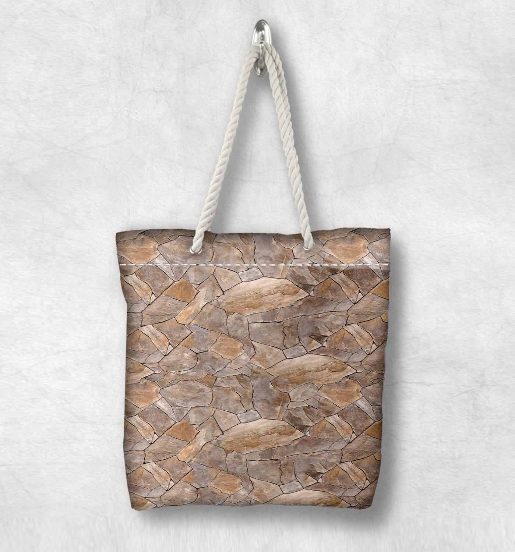 Başka bir kahverengi gri kırık taşlar duvar yeni moda beyaz halat kolu kanvas çanta pamuk tuval fermuarlı Tote çanta omuzdan askili çanta