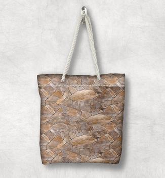 Else коричневый серый сломанные камни стены новая мода белая веревка ручка Холщовая Сумка Хлопок Холст на молнии сумка через плечо