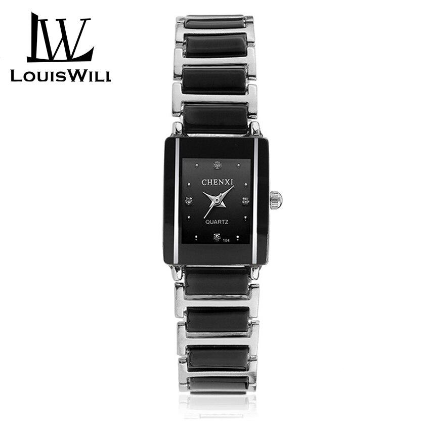 LouisWill Fashion Women Watch Square Women's Quartz Watch With Diamond Ladies Wristwatches Ceramic Strap Classic Quartz Clock