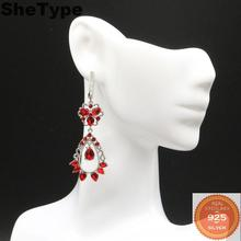 55x20mm Romantic Long 8.3g Created Red Blood Ruby Natural CZ Gift For Ladies 925 Solid Sterling Silver Earrings