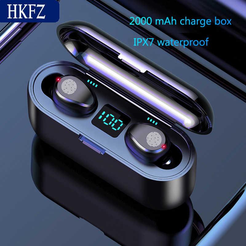 HKFZ หูฟังไร้สายบลูทูธ V5.0 F9 TWS หูฟังบลูทูธจอแสดงผล LED 2000 mAh Power Bank ชุดหูฟังไมโครโฟน