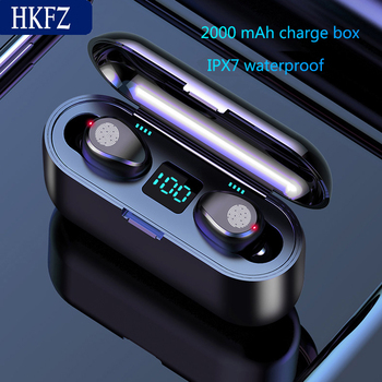 HKFZ Wireless Earphone Bluetooth V5.0 F9 TWS Bluetooth headphone LED Display With 2000mah Power Bank Headset With Microphone