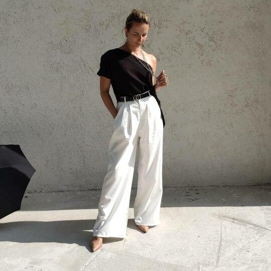 Women'S Wide Leg Pants High Waist Zipper Pocket Big Size X Long Trousers Spring Female  Fashion Ol Clothing photo review