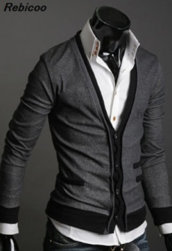 Men 39 s fashion Slim placket color matching long sleeved sweater jacket Contrast fake two piece cardigan