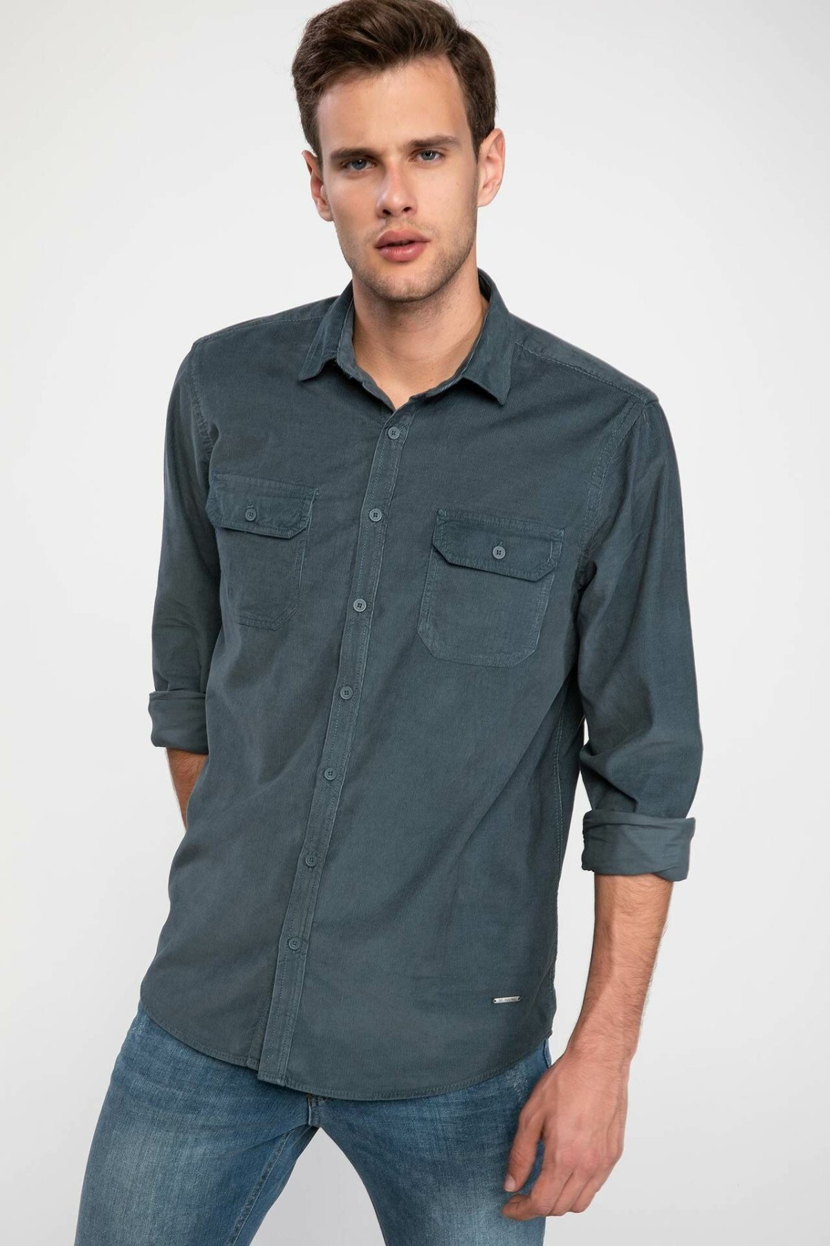 DeFacto Man Long Sleeve Solid Color Autumn Spring Shirt Casual Smart Shirts Pockets Decors High Quality-I9292AZ18AU