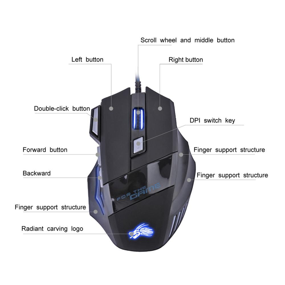USB Wired Gaming Mouse 7 Buttons 5500 DPI Adjustable LED Backlit Optical Computer Mouse Gamer Mice For PC Laptop Notebook 5