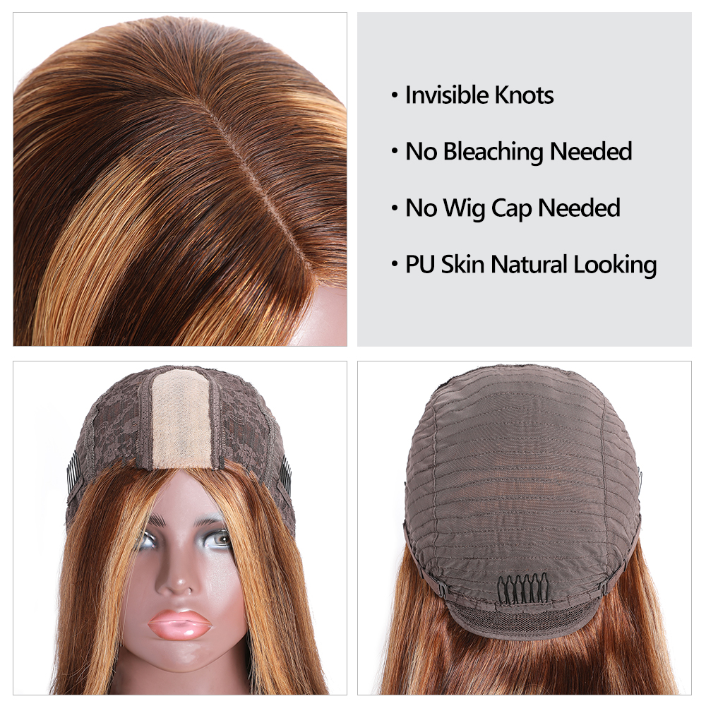 """2x5""""PU Silk Base Closure Wigs Highlight Mix Color Piano Blonde Wig 150% Density Straight  Wigs  Virgin Hair 3"""