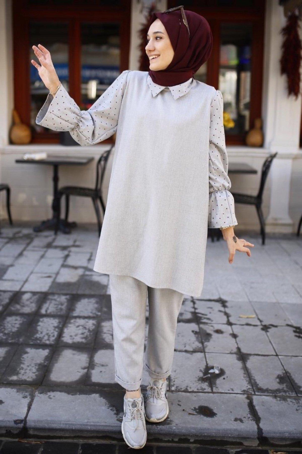 Muslim Abayas Suit Hijab Dress Grey 2 PIECES Bottom Top Fashion 4 Season Islamic Clothing Caftan Ramadan Dubai Made in Turkey