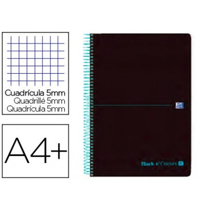 SPIRAL NOTEBOOK OXFORD EBOOK 8 PLASTIC CAP DIN A4 + 160 H GRID 5 MM BLACK'N COLORS TURQUOISE 5 Pcs