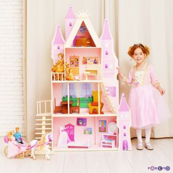 Doll Houses PAREMO  Summer Palace Barbie Pink sapphire with 16 pieces of furniture and textiles for children toys for kids game furniture dolls doll houses furniture for bed for accessories five houses of zen