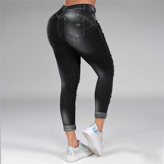 Pantalones vaqueros rasgados desgastados para mujer, pantalón S-5XL de talla grande, de cintura alta, estilo coreano, pitillo, color negro y azul, blanqueados 4