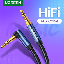 UGREEN Aux Cable Audio Hi-Fi Stereo Male to Male 90 Degree Right Angle 3.5mm Speaker Universal Braided Auxiliary Audio Cord