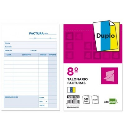 CHECKBOOK LEADERPAPER INVOICES 8 ° ORIGINAL AND COPY T200 WITH IGIC 10 Pcs