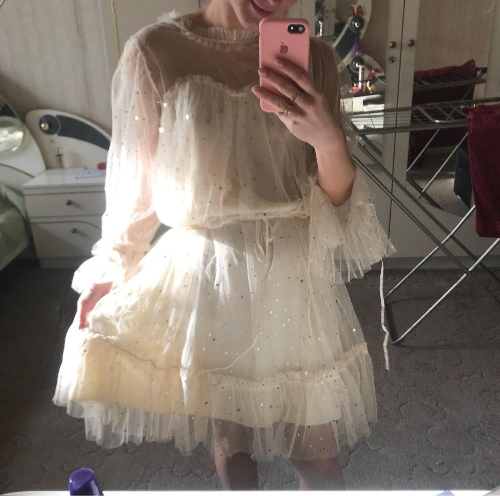 RUGOD New shiny women dress sequined transparent loose a line mesh patchwork elegant solid summer dress korean style kimono reviews №1 48474