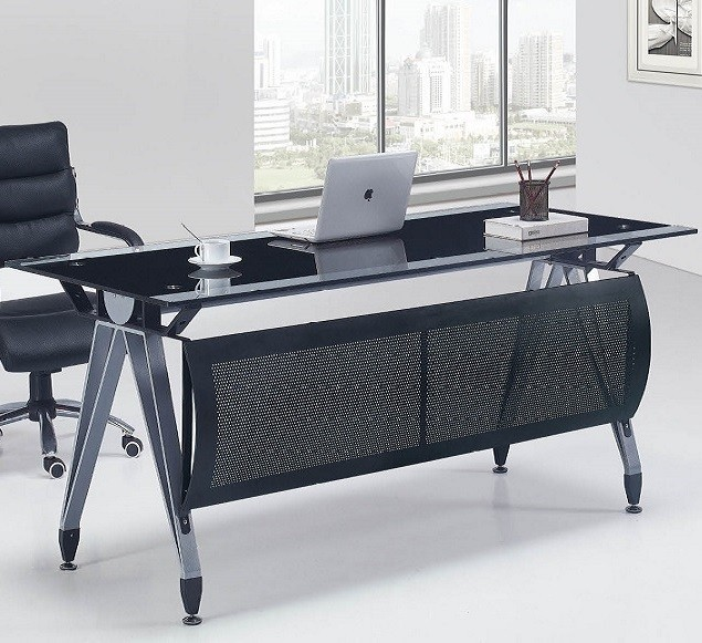 Office Table BASEL, Black Crystal And Transparent, 160x80 Cms.
