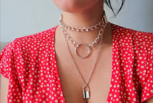 Multilayer lock chain necklace E-girl Pastel gothic photo review